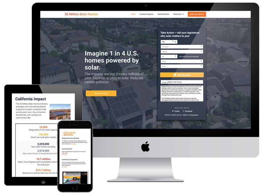 30 Million Solar Homes website design by J.Kins Creative & Harford Designs
