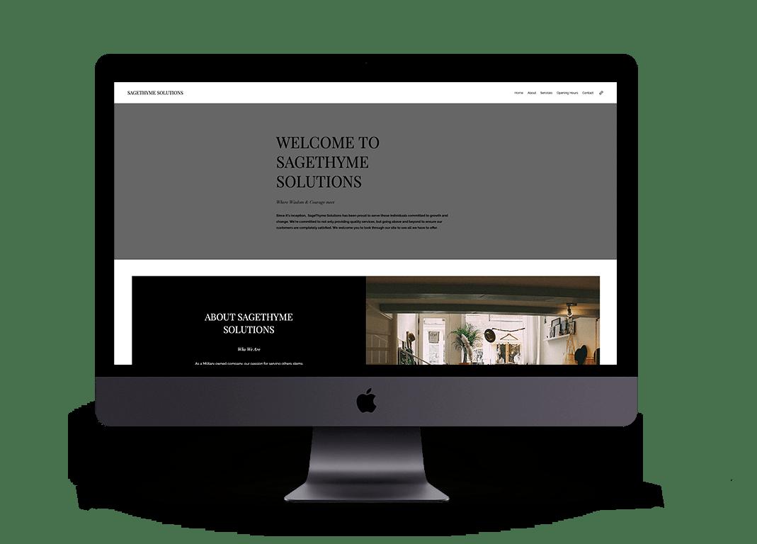 Original DIY Wix website of Sage Thyme Solutions Website Mockup